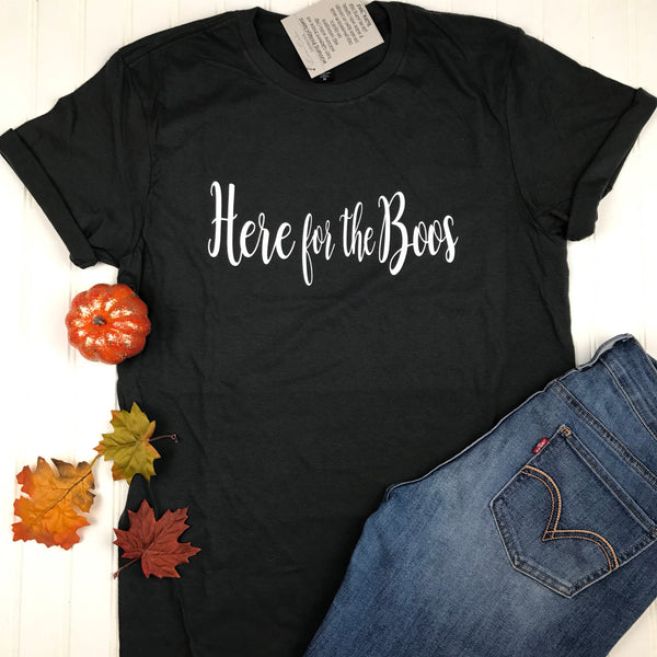 Here for the Boos Halloween Shirt, Halloween Shirt, Adult Costume, Fall Shirt, Cute Halloween Tee, Women's Halloween T-Shirt, Boo shirt