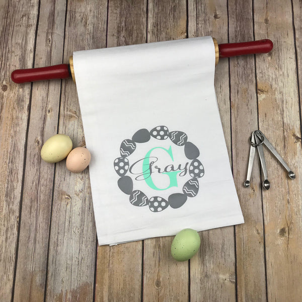 Easter monogram kitchen towel, personalized dish towel, hostess gift, wedding gift, monogram dish towel, kitchen towel, kitchen dish towel
