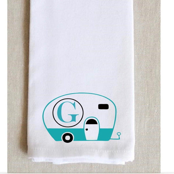 Happy Camper Decor, holiday party hostess gift, Personalized Monogram kitchen towel, personalized kitchen towels, tea towel, kitchen towels