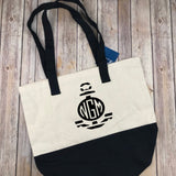 Anchor Monogram Canvas Tote, Monogram Market Bag, Teacher Gift, Bridesmaid Gift, Personalized Gift, Gift for Mom, Monogram Bag, Beach Bag