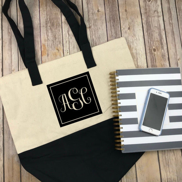 Square Monogram Canvas Tote, Monogram Market Bag, Teacher Gift, Bridesmaid Gift, Personalized Gift, Gift for Mom, Monogram Bag, Beach Bag