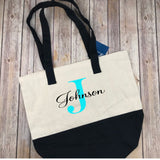 Name and Monogram Canvas Tote, Monogram Market Bag, Teacher Gift, Bridesmaid Gift, Personalized Gift, Gift for Mom, Monogram Bag, Beach Bag