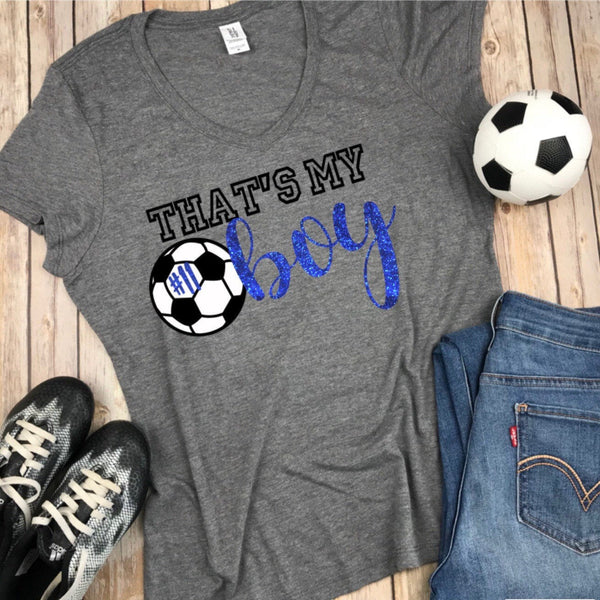 Thats my boy V Neck Soccer Mom Shirt with Blue Glitter and black and white design with soccer ball, Soccer Mom Shirt, Gift for soccer mom