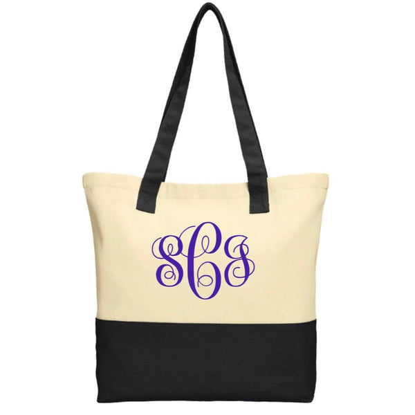 Colored Monogram Canvas Tote, Monogram Market Bag, Teacher Gift, Bridesmaid Gift, Personalized Gift, Gift for Mom, Monogram Bag, Beach Bag