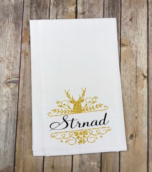 Holiday Reindeer Gold Glitter Personalized Monogram kitchen towels,  Christmas kitchen towels, Christmas Hostess Gift, holiday party gift