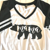 Mama Bear Shirt,Mom Gift,Mothers Day Gift,Mama Shirt,Mom Shirt,Stripe Sleeve,Bear Shirt,gift for mom