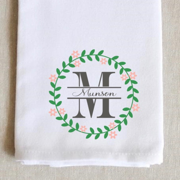 Spring monogram kitchen towel, personalized dish towel, monogram tea towel, wedding gift, hostess gift, monogram kitchen towel, easter gift, mothers day gift