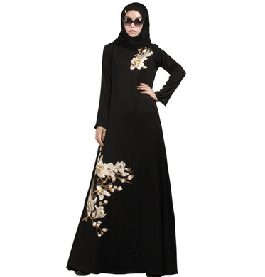 Black Floral Decorated Abaya