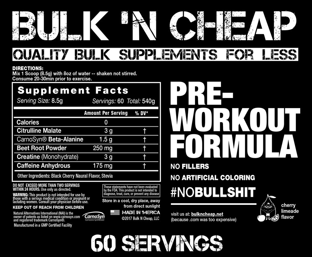PRE-WORKOUT FORMULA (60 Servings)