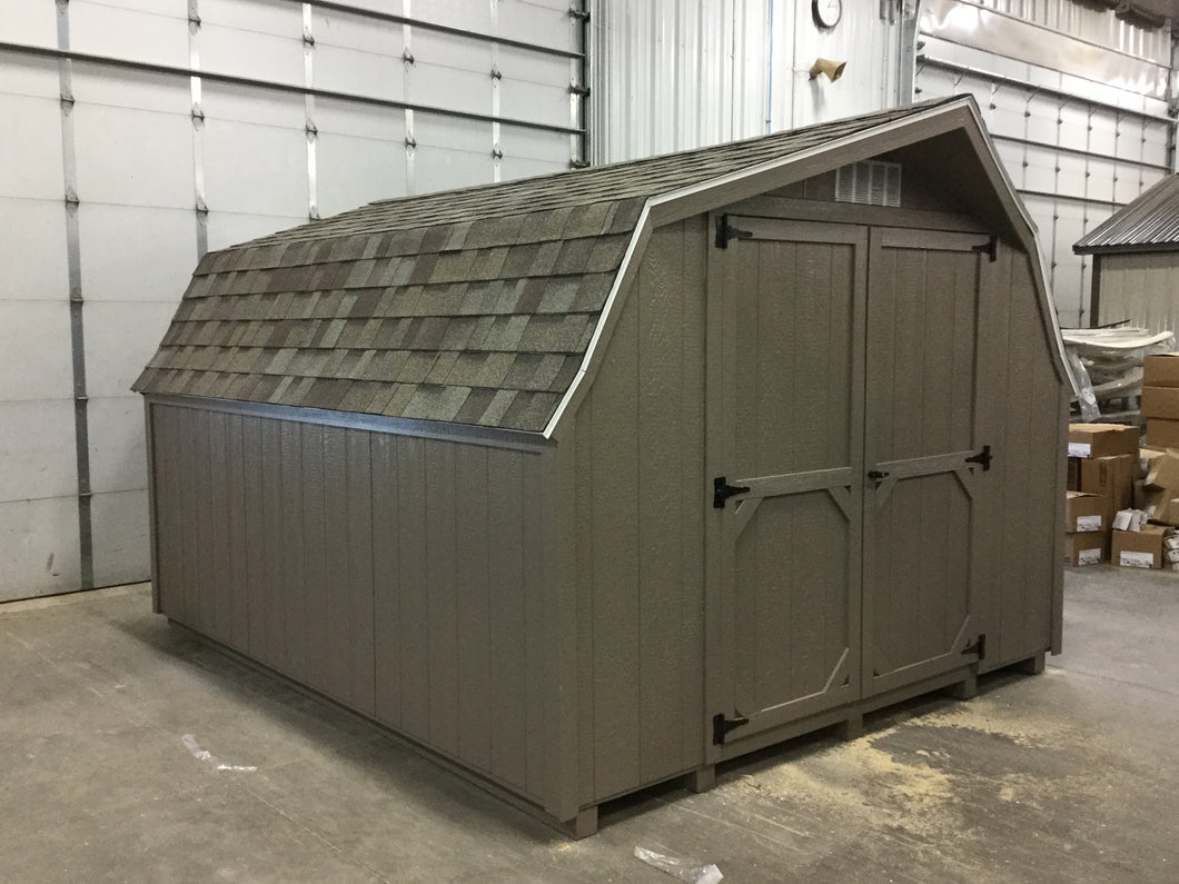 10X12 Everyday Backyard Shed Package With Wood Panel Siding ** Roofline - Low Barn**