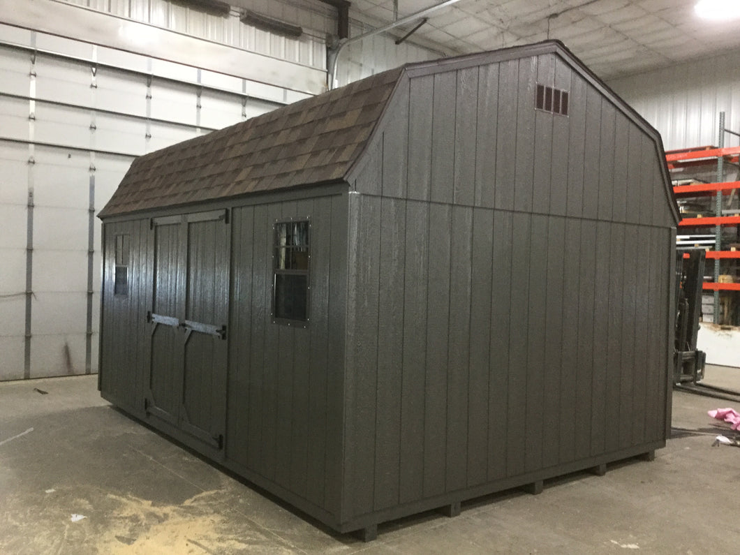 12X16 Everyday Backyard Shed Package With Wood Panel Siding ** Roofline - High Barn**