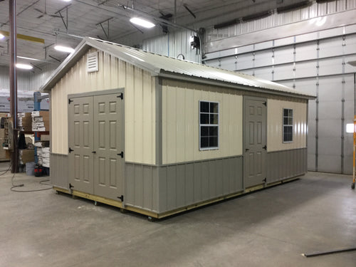 12X20 Everyday Backyard Shed Package With Steel Siding ** Roofline - 5/12 Ranch Gable W/Wainscot**