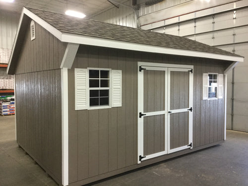 12X16 Everyday Backyard Shed Package With Wood Panel Siding ** Roofline - Quaker Gable**