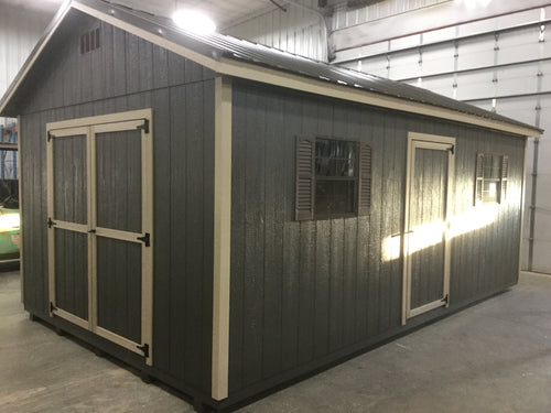 12X20 Everyday Backyard Shed Package With Wood Panel Siding ** Roofline - 5/12 Ranch Gable**