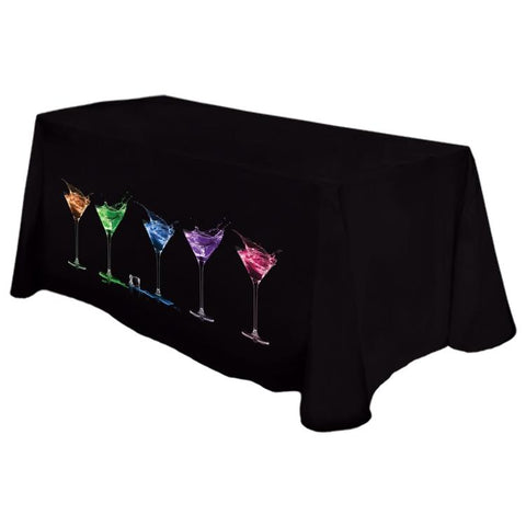 "Digital 6' Fitted Table Cover @ 42""H - Counter Height - Standard Poly Fabric"
