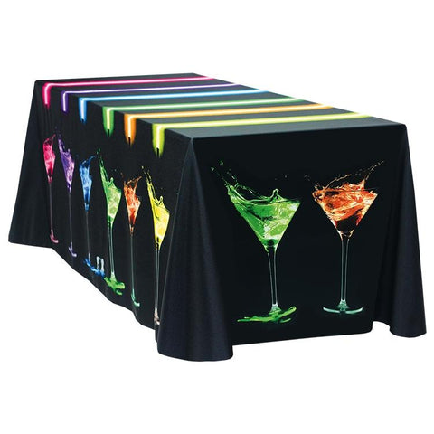 Fully Dye Sublimated 8' Throw Table Cover - Standard Poly Fabric