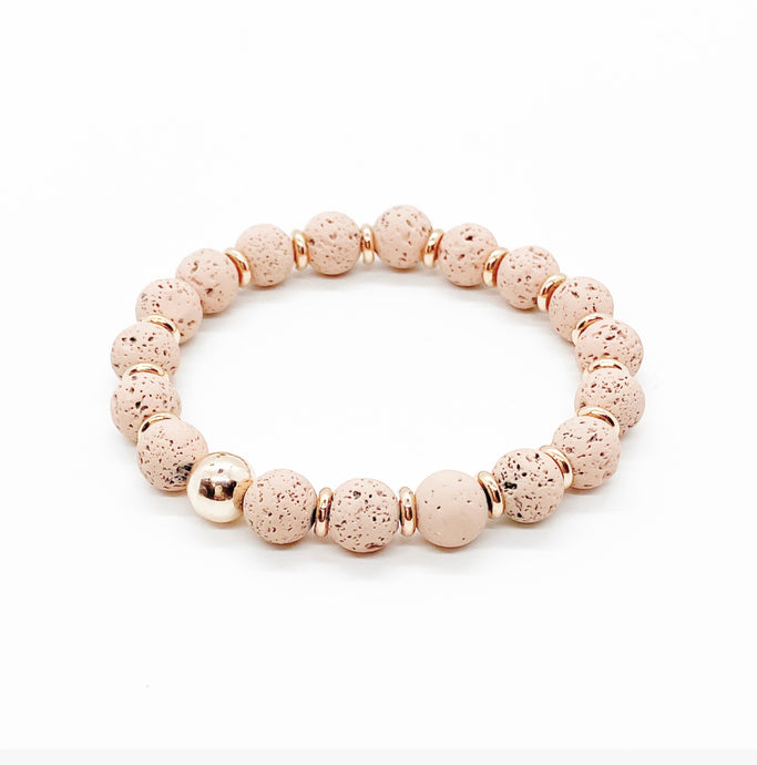 Rose Gold Hematite and Blush Lava Rock Diffuser Bracelet