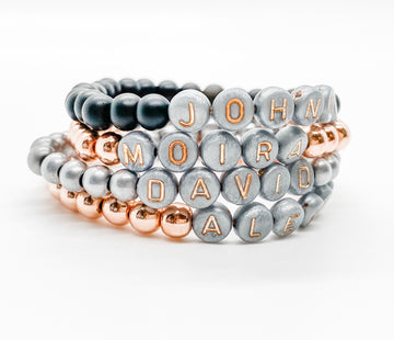 Design Your Own | Gray with Rose Gold Lettering Beaded Bracelet