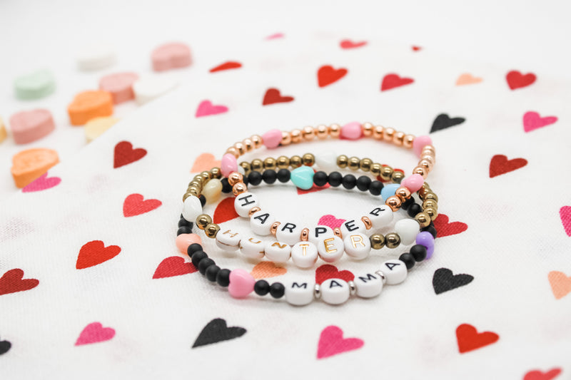 Design Your Own | Candy Hearts Letter Bead Bracelet