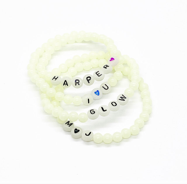 Design Your Own | Glow In The Dark Letter Bead Bracelet