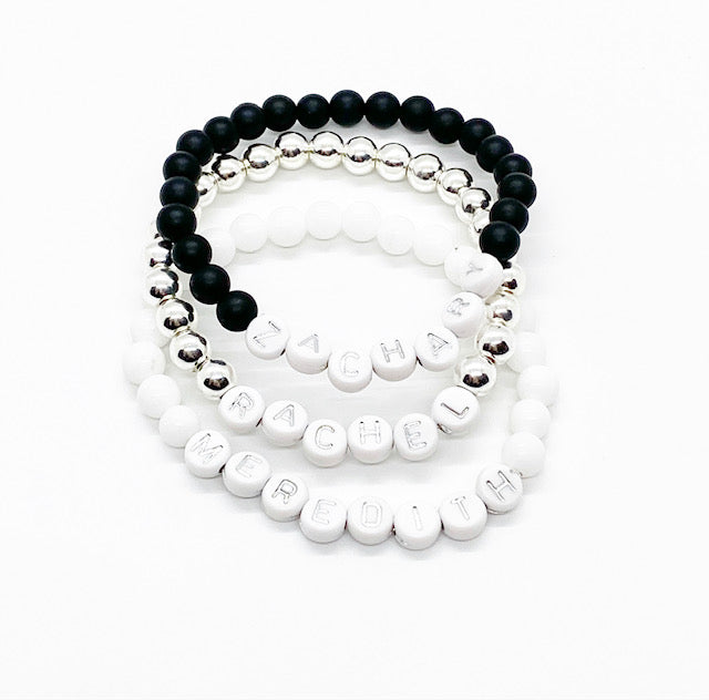 Design Your Own | White with Silver Lettering Beaded Bracelet
