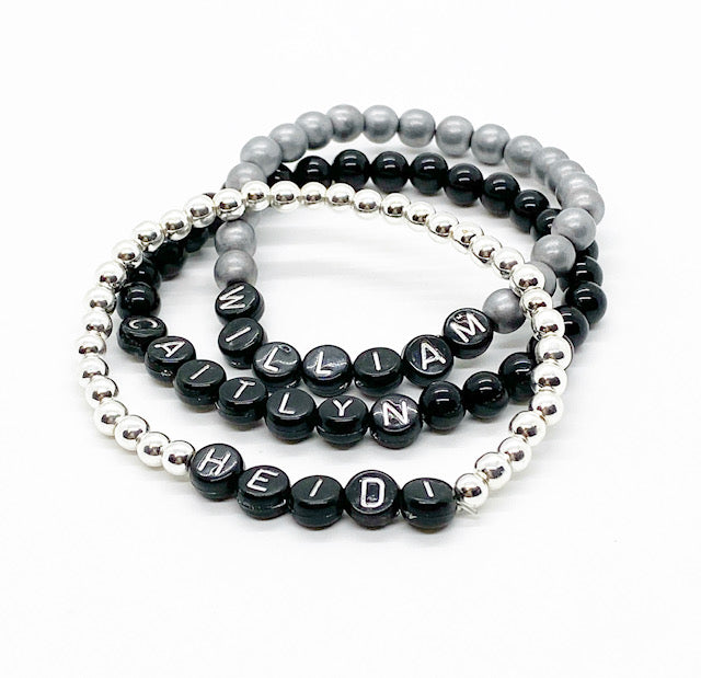 Design Your Own | Black with Silver Lettering Beaded Bracelet