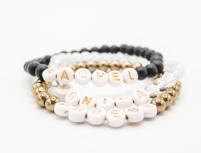 Design Your Own | White with Gold Lettering Beaded Bracelet