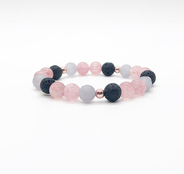 Strawberry Quartz and Gray Jade Diffuser Bracelet