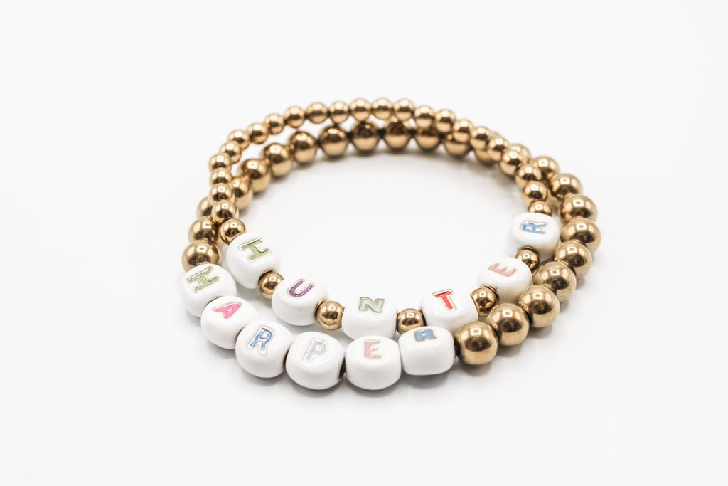 Design Your Own | Enameled Multicolor White & Gold 8MM Letter Bead Bracelet