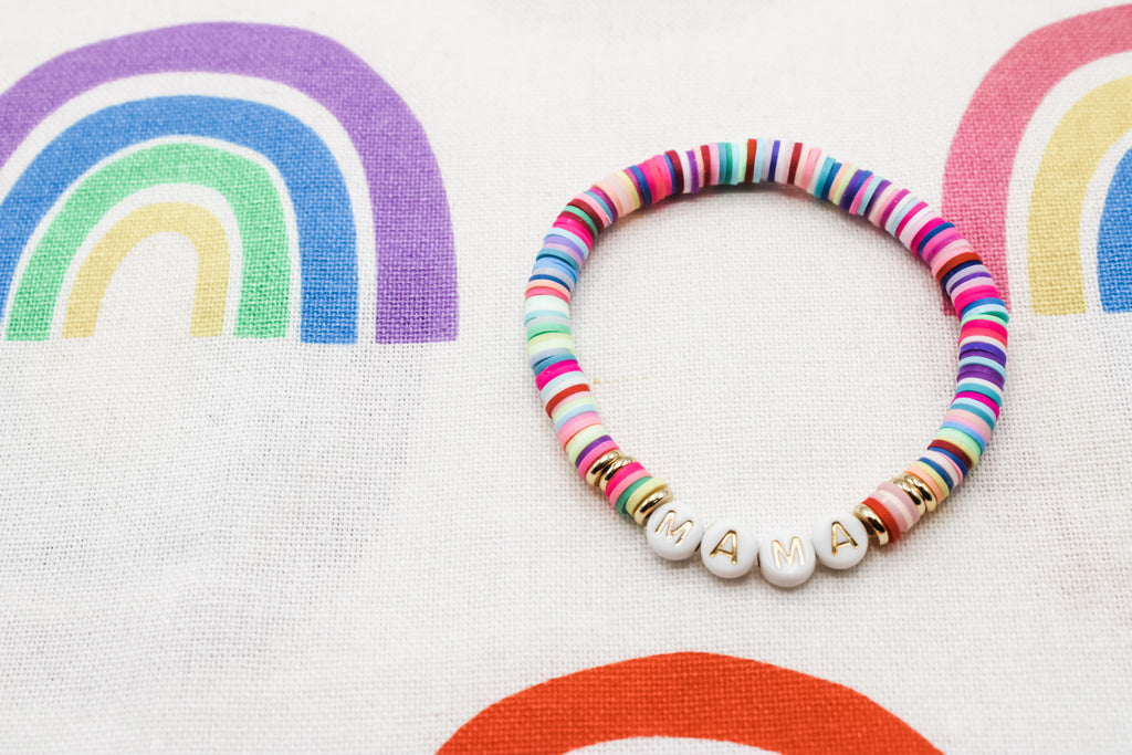 Design Your Own | Letter Bracelet with Rainbow Disc Base Beads