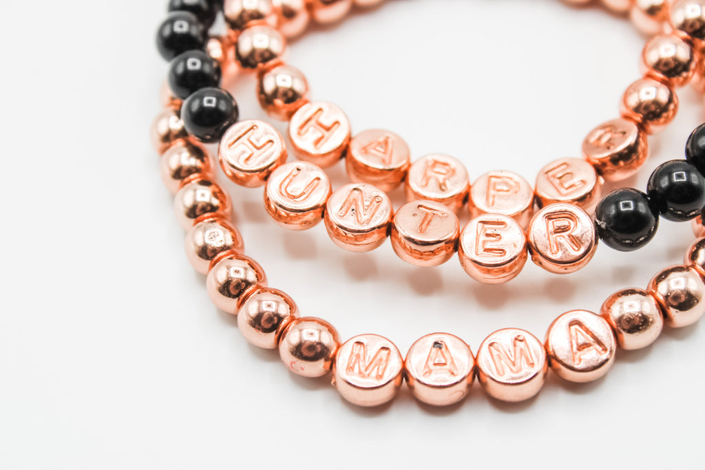 Design Your Own | Embossed Metallic Rose Gold Letter Beaded Bracelet
