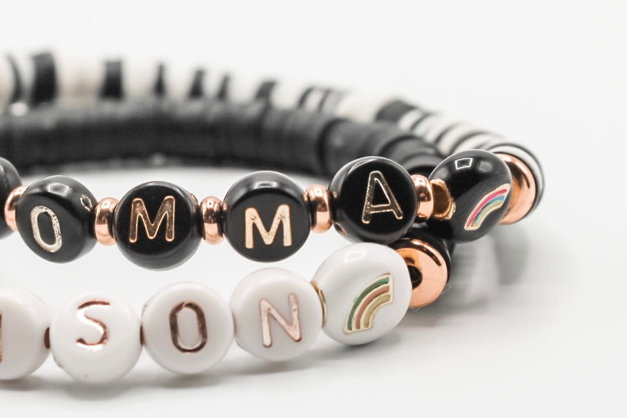 Design Your Own | Letter Bracelet with Rainbows and Disc Base Beads