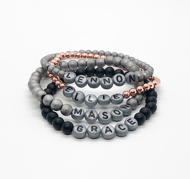 Design Your Own | Matte Silver Letter Bead Bracelet