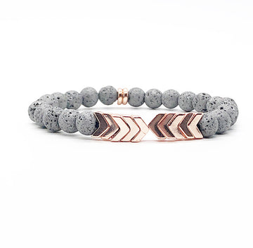 Rose Gold Chevron and Gray Lava Rock Diffuser Bracelet