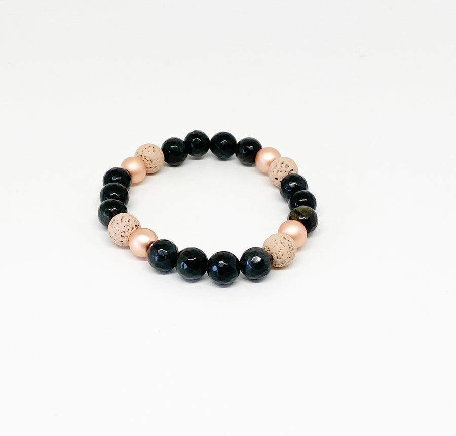 Faceted Black Obsidian, Blush and Matte Rose Gold Diffuser Bracelet