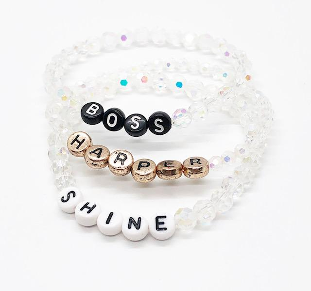 Design Your Own | Letter Bead Bracelet with Crystal Base Beads