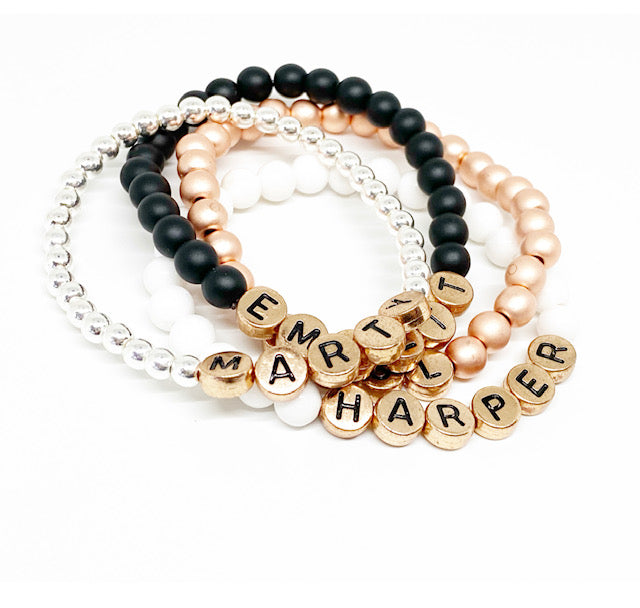 Design Your Own | METALLIC Rose Gold Letter Bead Bracelet