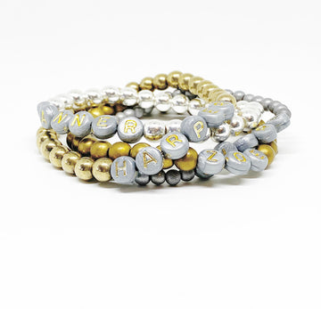Design Your Own | Gray with Gold Lettering Bead Bracelet