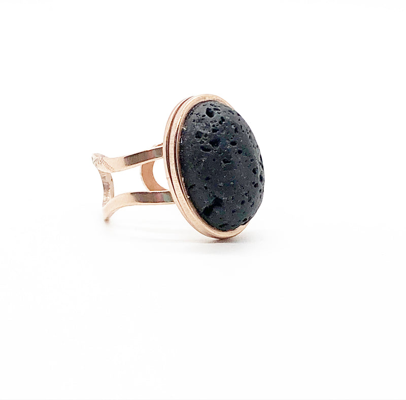 Oval Lava Rock Diffuser Ring | Rose Gold