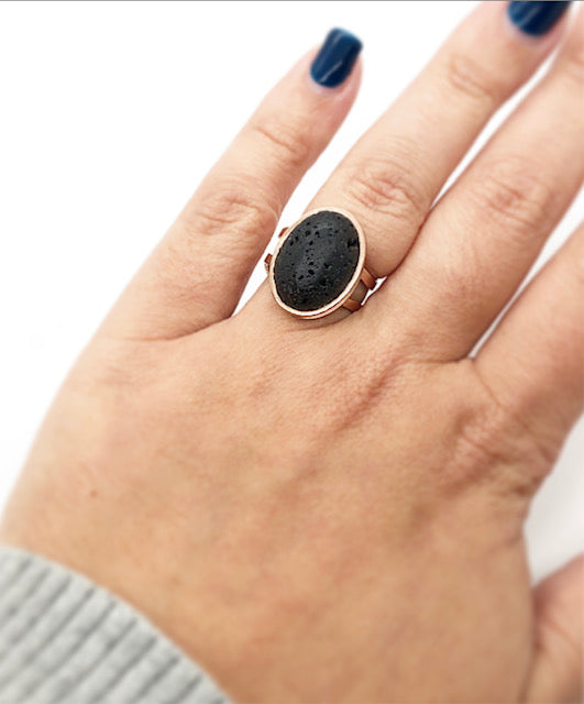 Oval Lava Rock Diffuser Ring | Gold