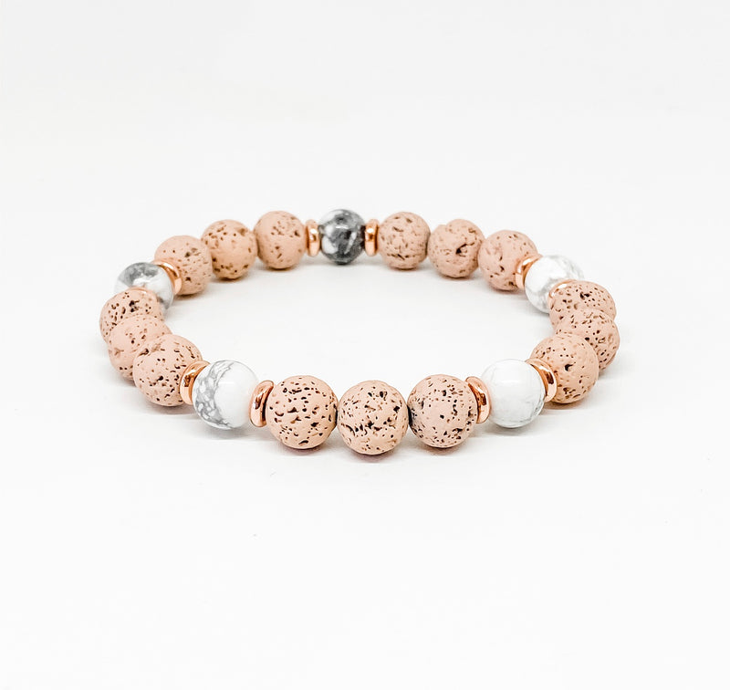 White Howlite and Blush Lava Diffuser Bracelet