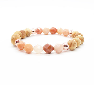 Star Cut Sunstone and Wood Diffuser Bracelet