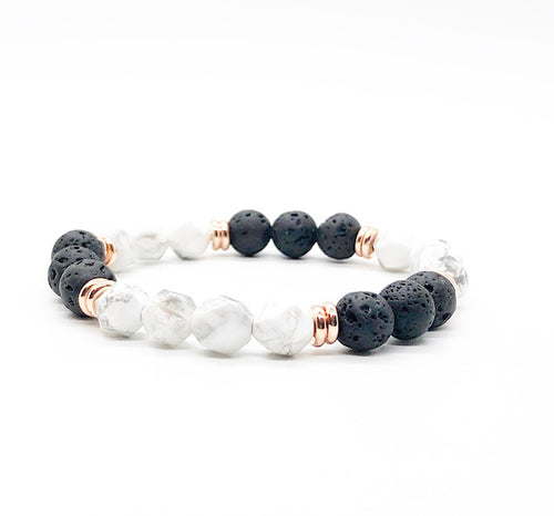 Star Cut White Howlite and Lava Rock Diffuser Bracelet
