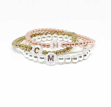 Design Your Own | Metallic Glitter Initial Letter Bracelet