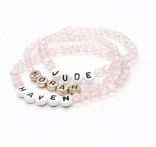 Design Your Own | Letter Bead Bracelet with Blush Crystal Base