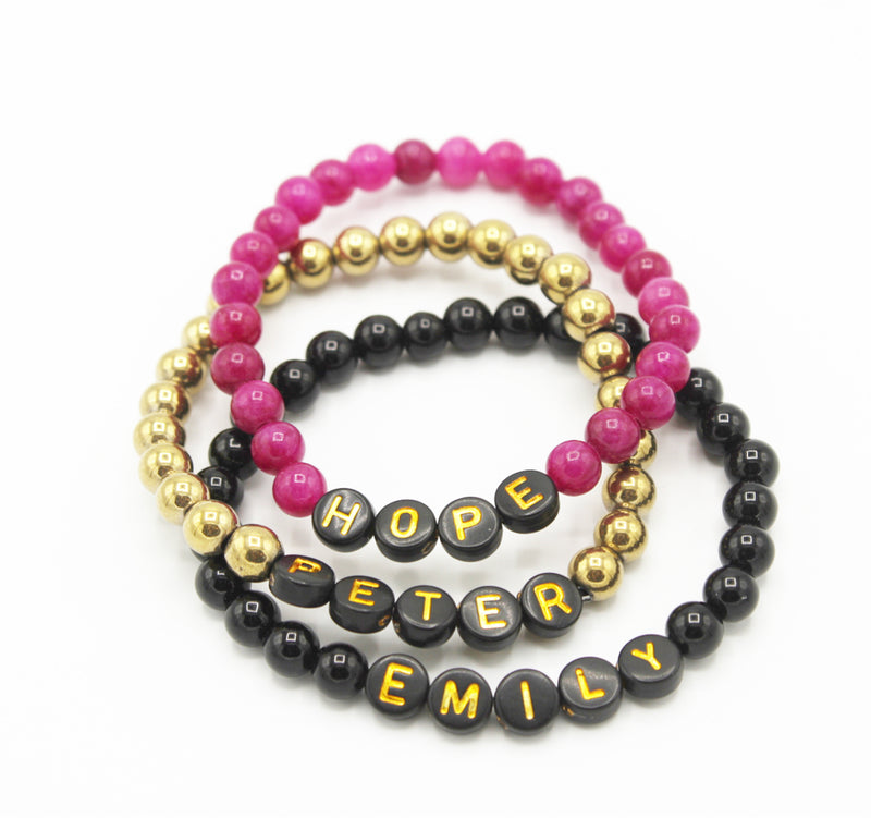 Design Your Own | Black with Gold Lettering Beaded Bracelet