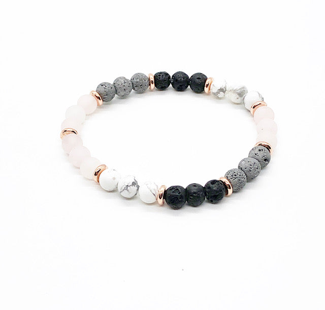 White Howlite and Frosted Rose Quartz Diffuser Bracelet