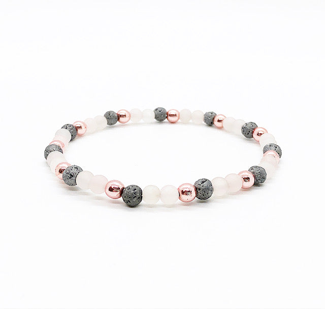 Dainty Rose Quartz, Rose Gold and Gray Lava Diffuser Bracelet