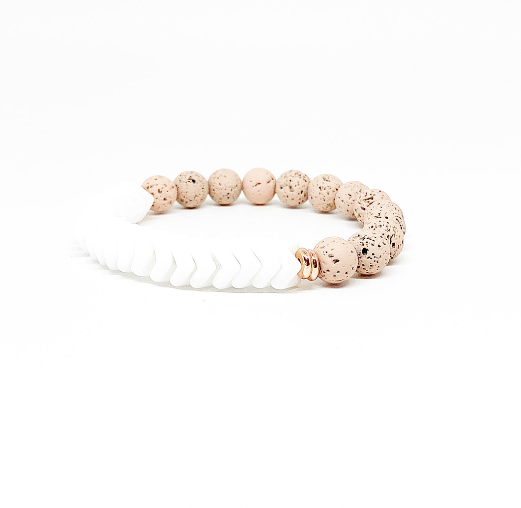 Blush and White Interlocking Diffuser Bracelet