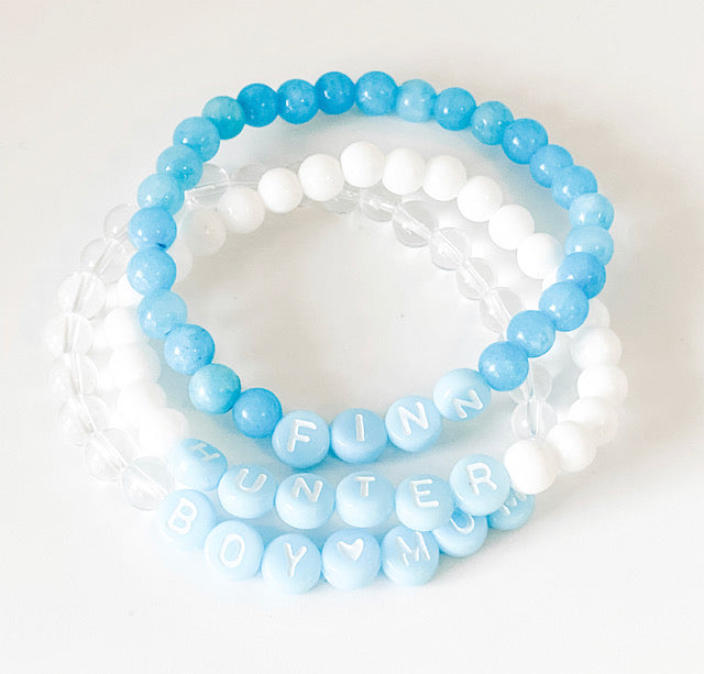 Design Your Own | Baby Blue Letter Bead Bracelet